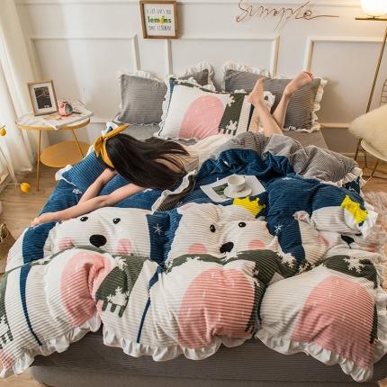 懒猫 2020新款韩版魔法绒四件套 皇冠熊