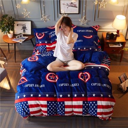 鸿悦家纺 法莱绒保暖印花四件套 星星条旗
