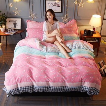 鸿悦家纺 法莱绒保暖印花四件套 幸福粉色
