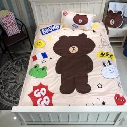 最初家纺 全棉13372小号三件套大版布朗熊