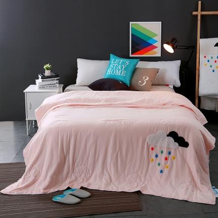 圣卓家纺 双层纱全棉夏被云朵-粉色