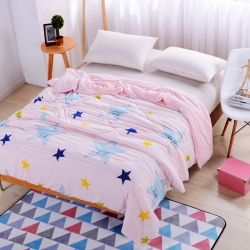 早晨家纺 水洗印花夏被 小星星-淡粉