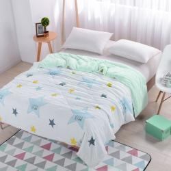 早晨家纺 水洗印花夏被 小星星-绿