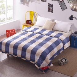 早晨家纺 无印良品风格夏被 大方格-蓝