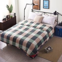 早晨家纺 无印良品风格夏被 大方格-绿