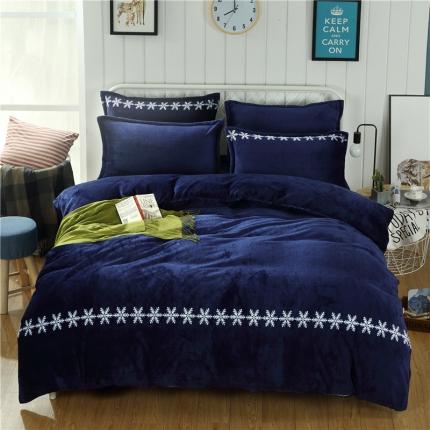简约-宝石蓝  44个法莱绒四件套床单款所有花色床笠款可定做