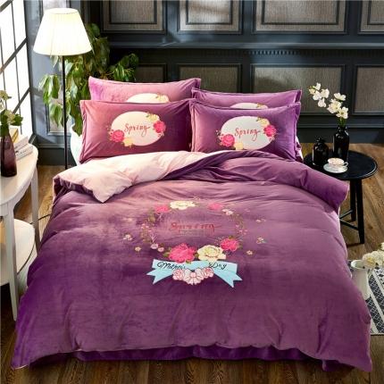 心雅丽家纺 绣花水晶绒四件套 玫瑰花开-深紫