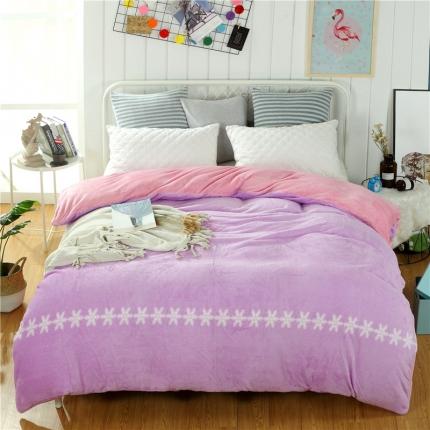 丁香紫+豆沙44个花色法莱绒被套【有同款法莱绒四件套毛毯】