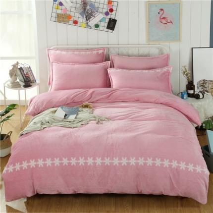 简约-豆沙  44个法莱绒四件套床单款所有花色床笠款可定做