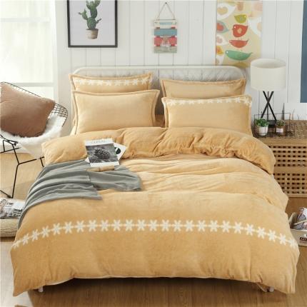 简约-柔情黄  44个法莱绒四件套床单款所有花色床笠款可定做