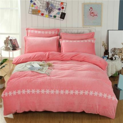 简约-香梦粉  44个法莱绒四件套床单款所有花色床笠款可定做