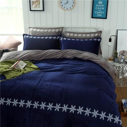 宝石蓝+绅士灰 44个法莱绒四件套床单款所有花色床笠款可定做