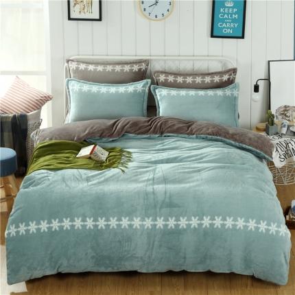 梦幻绿+绅士灰 44个法莱绒四件套床单款所有花色床笠款可定做