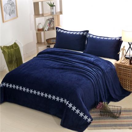 简约-宝石蓝  36个法莱绒毛毯【有同款被套法莱绒四件套】