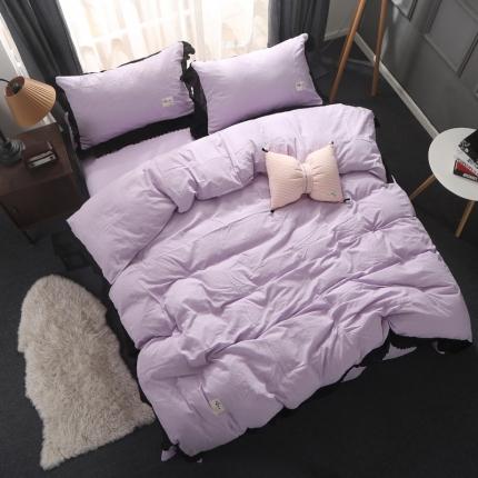 初舍家纺 水洗棉四件套 蕾丝丁香紫