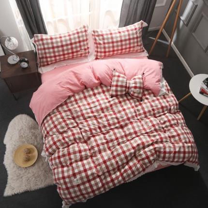 初舍家纺 水洗棉四件套 蕾丝红咖格