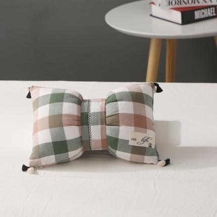 初舍家纺 水洗棉蝴蝶结抱枕靠垫枕  绿咖