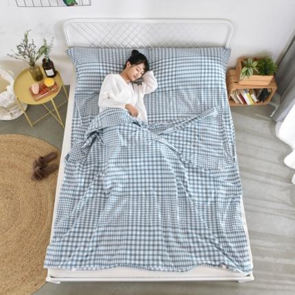 初舍家纺 全棉色织水洗旅行隔脏睡袋 错落格-蓝