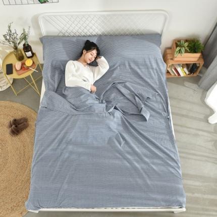 初舍家纺 全棉色织水洗旅行隔脏睡袋 蓝细条