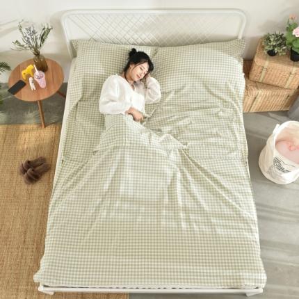 初舍家纺 全棉色织水洗旅行隔脏睡袋 嫩绿小格