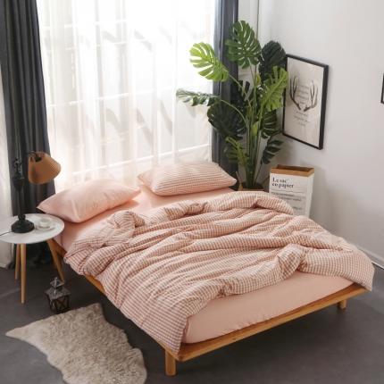 (总)初舍生活 自由混搭小格系列四件套床单款