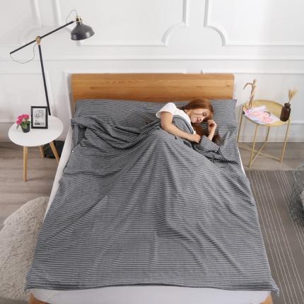 初舍家纺 全棉色织水洗旅行隔脏睡袋 素灰细条