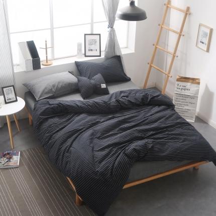 (总)初舍家纺 无印良品风水洗棉三件四件套床笠款