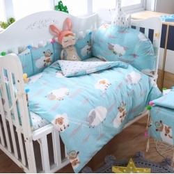 萌朵家纺 60全棉贡缎婴童床围套件 大绵羊-浅蓝