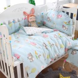萌朵家纺60全棉贡缎婴童床围套件 欢乐谷-浅蓝