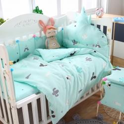 萌朵家纺 60全棉贡缎婴童床围套件 小仙-浅绿