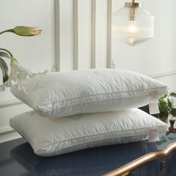 逸林枕芯 全棉立體抗菌防螨羽絲絨枕芯 白色