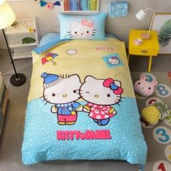 宜居家纺 大床单款卡通儿童床棉+绒三件套 恋爱kt