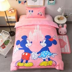 宜居家纺 大床单款卡通儿童床棉+绒三件套 心动米奇