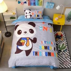 宜居家纺 大床单款卡通儿童床棉+绒三件套 熊猫天使