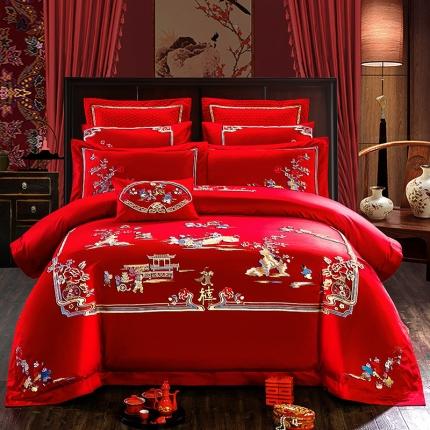 (总)喜洋洋婚庆专供 80S长绒棉婚庆四件套床单款