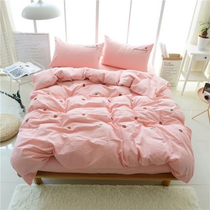 蔚涞家居 全棉超细水洗棉四件套 草莓-粉