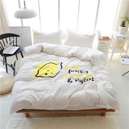 蔚涞家居 全棉超细水洗棉贴布绣花四件套 柠檬-白