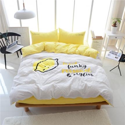 蔚涞家居 全棉超细水洗棉贴布绣花四件套 柠檬-黄白