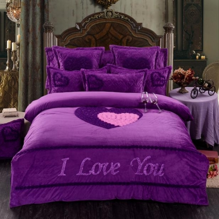 宜凡家纺 独家专版水晶绒婚庆刺绣套件床裙款甜蜜同心浪漫紫