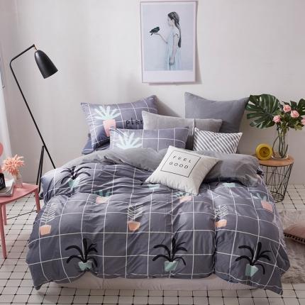 宜凡水晶绒数码印花夹棉刺绣床笠床裙床单款北欧四件套文艺植物