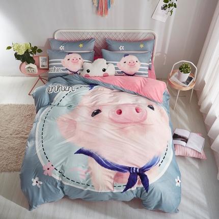 宜凡水晶绒数码印花夹棉刺绣床笠床裙床单款北欧四件套香香猪