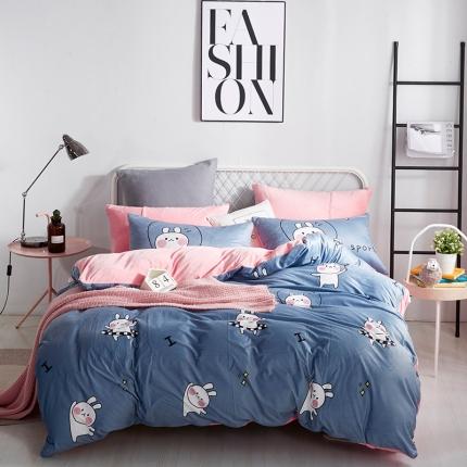 宜凡水晶绒数码印花夹棉刺绣床笠床裙床单款北欧四件套运动小兔