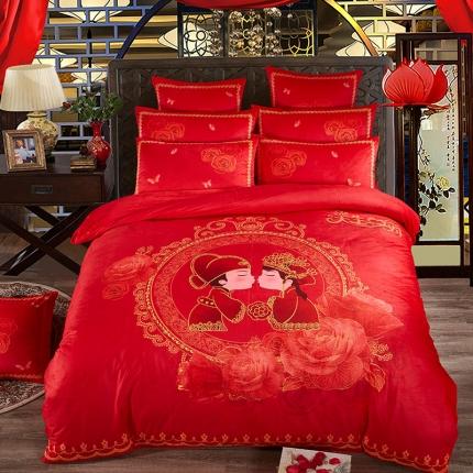 宜凡家纺加厚保暖水晶绒刺绣+数码印花婚庆四件套床盖式天生一对