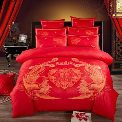 宜凡家纺加厚保暖水晶绒刺绣+数码印花婚庆四件套床盖式喜结良缘