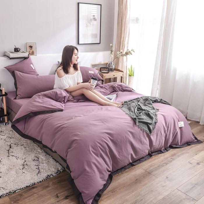 (總)藍鄰 2019新款32支色織水洗棉四件套 床單款