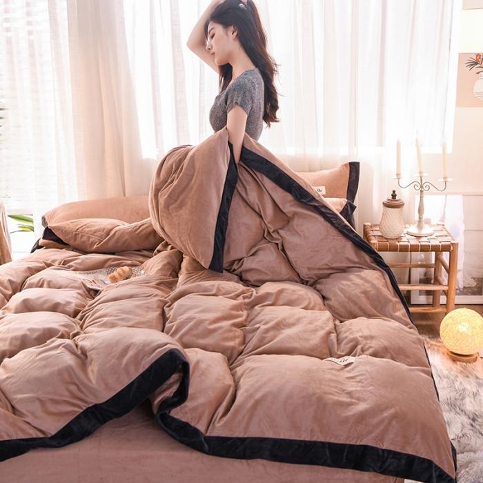 (總)藍鄰家紡 2019新款可可雙面法萊絨水晶絨四件套床單款