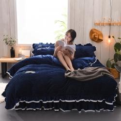 (总)紫苏家纺 兔兔绒水晶绒系列床裙款四件套