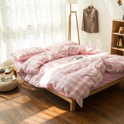 色织生活 双层纱四件套 双层纱-色纺鲜粉