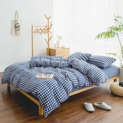 色织生活 简约宜家水洗棉四件套床单款渐变格子