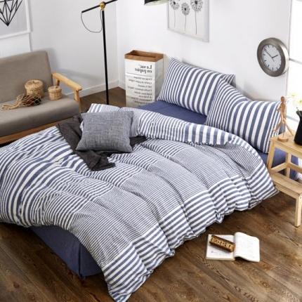 色织生活 简约宜家水洗棉四件套床单款蓝色条纹